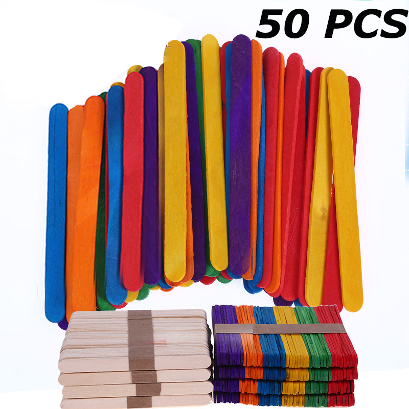50 Pcs DIY Handmade Child Wooden Bar/Stick Kid Handmade Material Unfinished Wood Blank Creative Party Decoration Craft Supplies