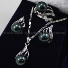 real Women s Wedding shipping Classic Black South sea Shell Pearl Earrings Ring Necklace Pendant Set