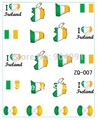 Flag design  20sheet/LOT Ireland Flag World Cup WATER DECAL NAIL ART Accessories Football Serie Nail Tattoo,22  Different design