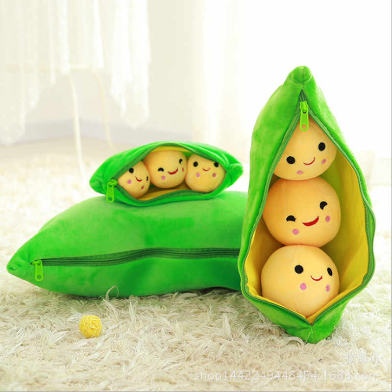 25CM Cute Plush Toys Pea Soft Stuffed Dolls Pea Shape Plant Doll Pillow Toy Boys Girls Gift Fun Toys for Children Christmas Gift