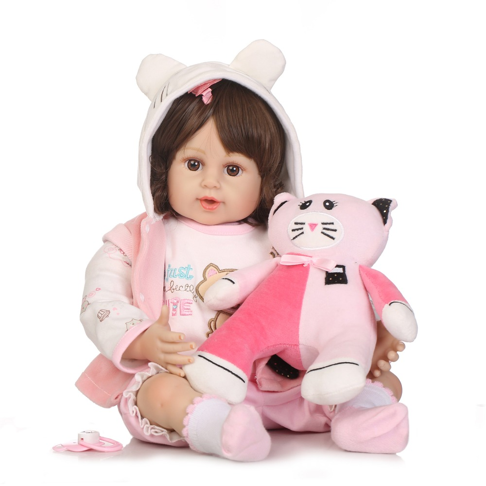 NPKCOLLECTION Reborn Baby Doll Cloth Body Silicone Vinyl Adorable Lifelike Toddler Baby Bonecas Girl Kid Bebe Reborn недорого