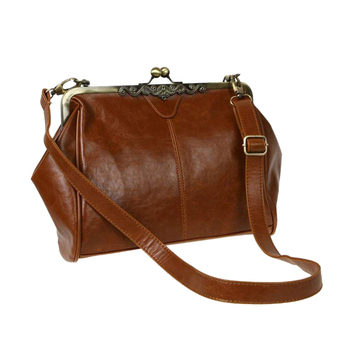 Retro Vintage Kiss Lock Imitation Leather Shoulder Bag