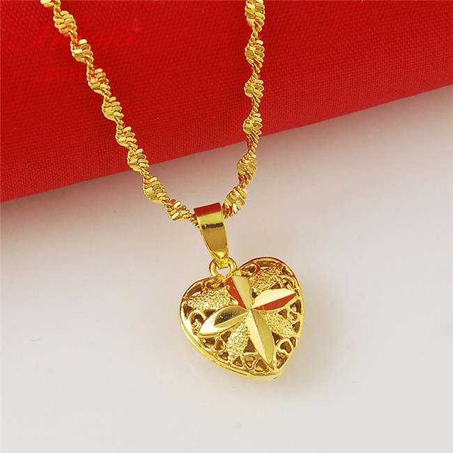 New arrival real 24k gold plated heart pendant necklace men women new arrival real 24k gold plated heart pendant necklace men women fashion yellow gold chain jewelry necklace free shipping jp021 in chain necklaces from aloadofball Images