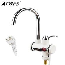 Atwfs calentador de agua del grifo grifo de la cocina grifo de agua caliente instantánea sin tanque calentador de agua caliente y fría 220 v/3000 w
