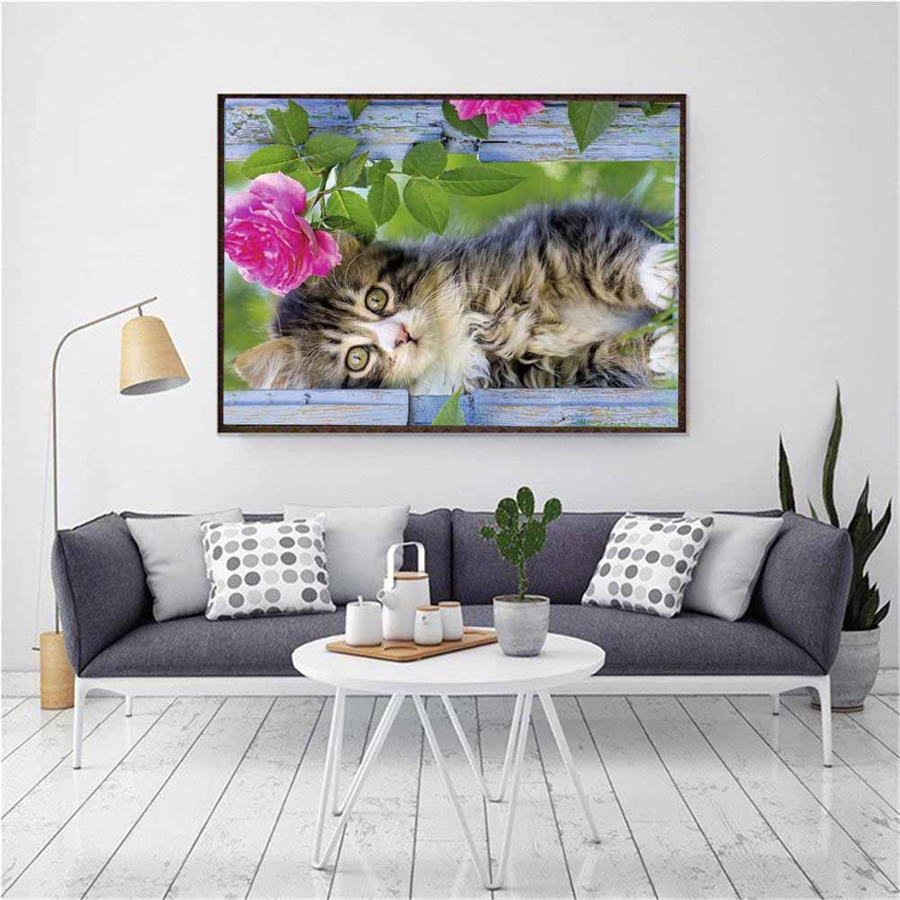 FineTime 5D DIY Diamond Embroidery Cute Kitty Cat Flower Partial Drill Animals Diamond Painting Cross Stitch Mosaic Painting in Diamond Painting Cross Stitch from Home Garden
