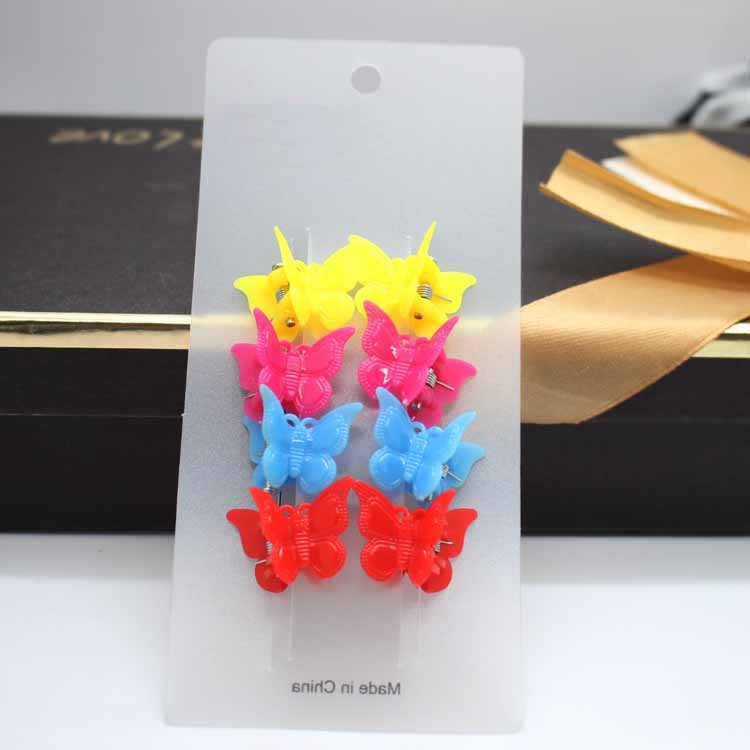 8/pack children Shiny Mini Small plastic Butterfly hair claw clips hair accessories girls bright yellow Floral hairpin   headwear