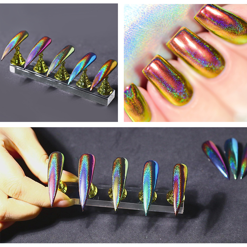 Chameleon Nail Glitter Dust Mirror Effect Nail Art Peacock Chrome Pigment Holographic Nail Powder Manicure Nail Art Decorations