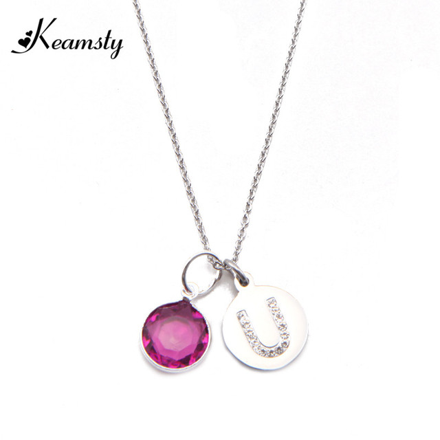 Keamsty hot sale stainless steel initial letter pendant necklace keamsty hot sale stainless steel initial letter pendant necklace alfabet u with colorful birthstone dangle 45cm aloadofball