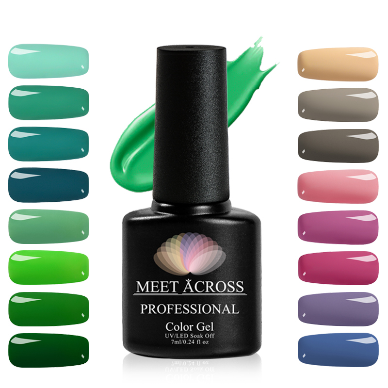 Hot Sale Meet Across 7ml Uv Led Gel Nail Polish Green Series