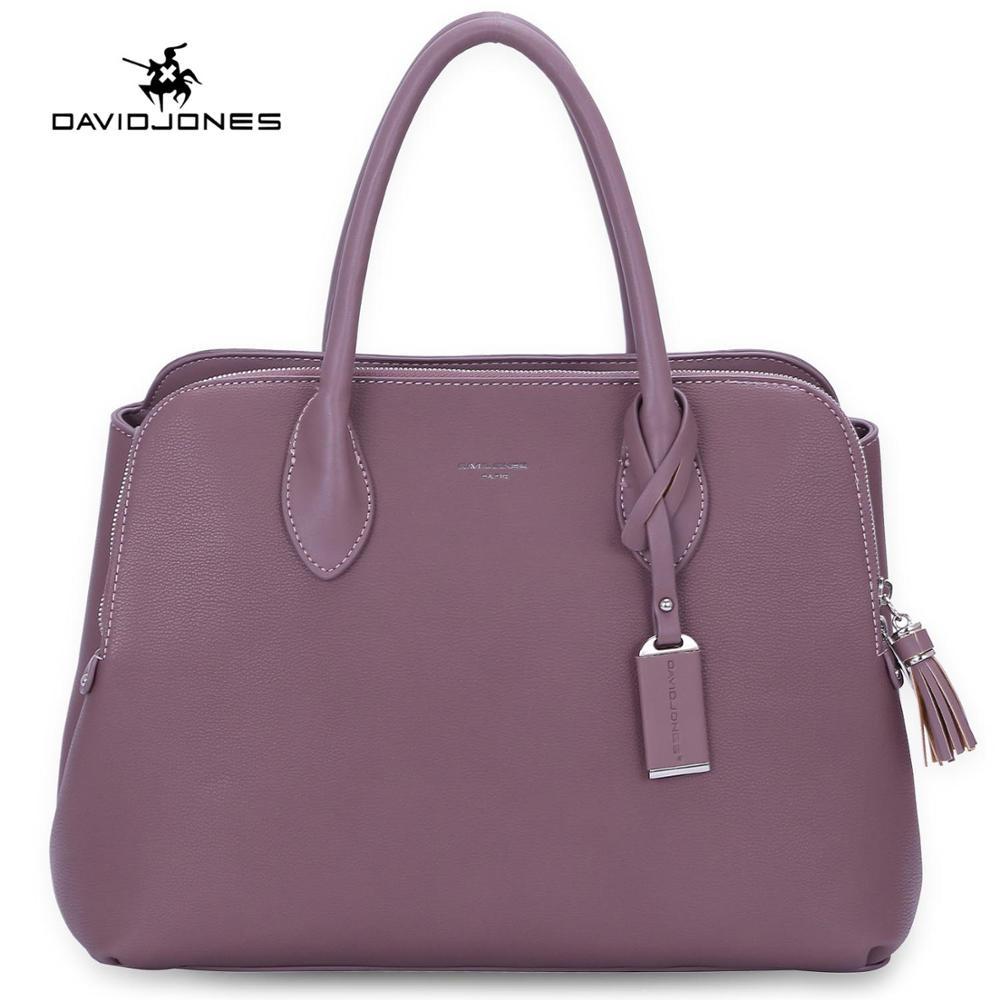 DAVIDJONES women handbag faux leather female tote bags big lady solid shoulder bag girl brand top