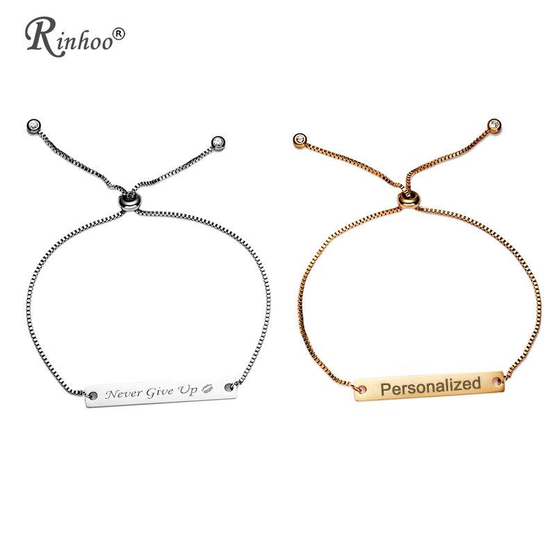 edd996745399 RINHOO barra de acero inoxidable personalizado pulsera para mujer joyería  de nombre grabado letras palabra brazalete pulsera de cadena
