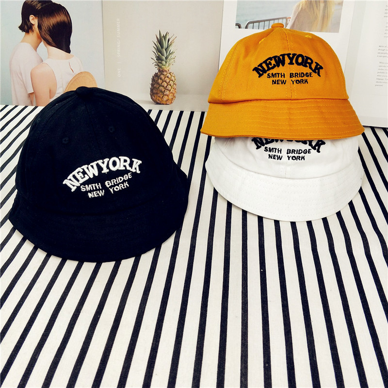0a427112a US $6.52 22% OFF|New York Letter Toddler Baby Cap Boys Girls Bucket Hat  Summer Fishing Hat Black White Orange for 1 3 Years Old Kids Sun Hat-in  Hats & ...
