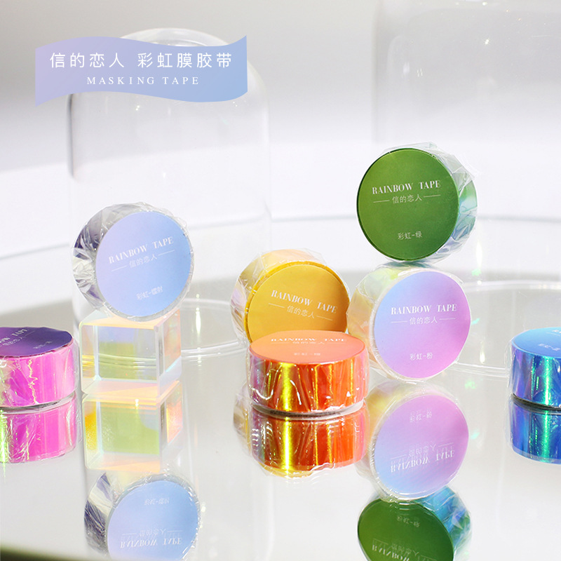 1 Pcs/lot DIY Japanese Paper Decorative Adhesive Tape Cartoon Rainbow Laser Series Washi Tape/Masking Tape Stickers