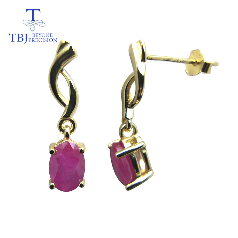 TBJ,natural ruby gemstone simple & classic design earring in 925 sterling silver yellow gold color best gift for girls & women-in Earrings from Jewelry & Accessories    1