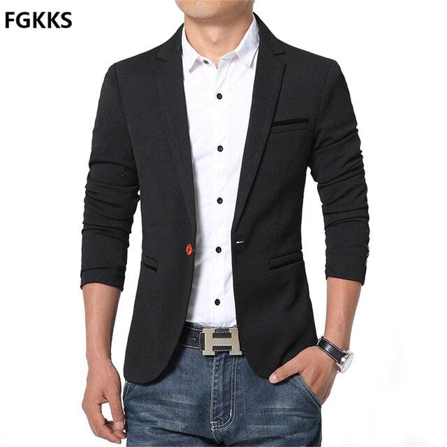 2016 New Spring and Autumn thin Casual Men Blazer Cotton Slim England Suit Blaser Masculino Male Jacket Blazer Men Size M-5XL