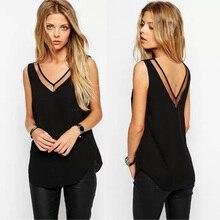 Plus Size S-XXL Women's Chiffon Shirt 2016 Summer Fashion Sleeveless Double V-neck Sexy Loose Blouse Female Free shipping