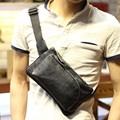 Sales promotion men PU leather chest pack small soft chest bag Cross Body travel bag unisex black phone pack High quality
