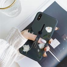Серый цветочный узор чехол для телефона для iphone Xs max XR 6s 7 8 плюс стекло многоцветный Скрытая мягкое кольцо кронштейн белая роза задняя крышка