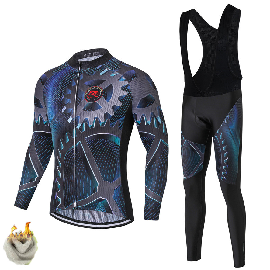 Teleyi Gear Cycling Set thermal Fleece Pro Team Bicycle Clothing Maillot Ciclismo Invierno Winter Warm Mountain Bike Jersey Set fualrny 2018 winter fleeced thermal cycling clothing set racing bike sportswear maillot ropa ciclismo invierno bicycle jersey
