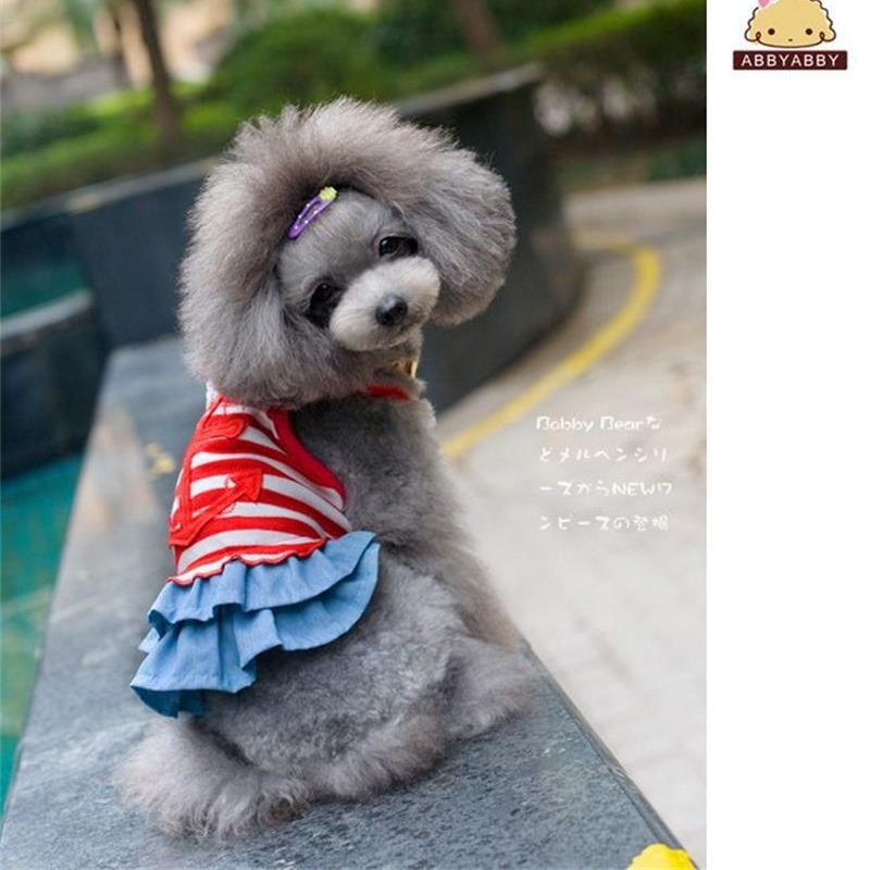 Hot Sale Pet Dog Clothes Dress Summer Chihuahua Sailor stripes Cotton Skirts Apparel Clothes For Small Dogs Cats puppy dress
