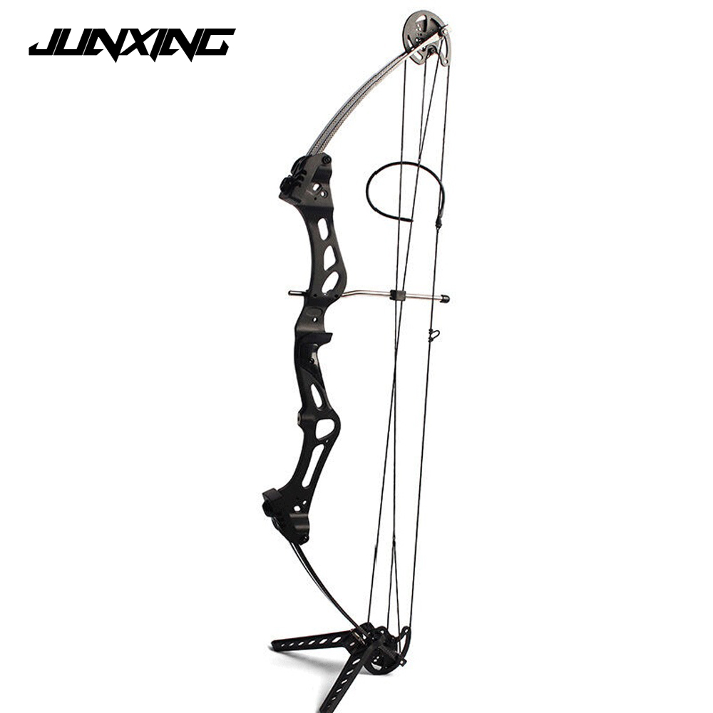 Adjustable 50-60 Pounds M107 Compound Bow wih Black/Camo Color Aluminum Handle and Glass Fiber Bow Limbs for Archery Hunting