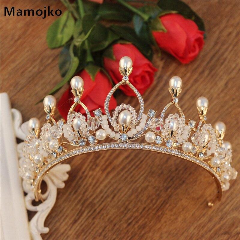 Red Pearls Baroque Crystals Wedding Party Bridal Crown Tiara Bride Headpiece New