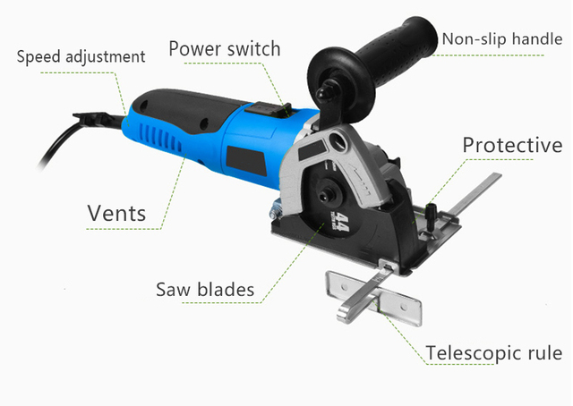 Tenwa 500W portable Circular Saws Household Desktop Multifunction Handheld Woodworking / Metal / TCT / HSS mini Power Tools Saws 5