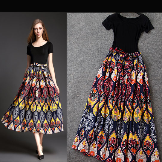 450372b45067 Fashion new summer black modal short sleeve T Shirts mid long vintage floral  printed skirt suits women clothing sets