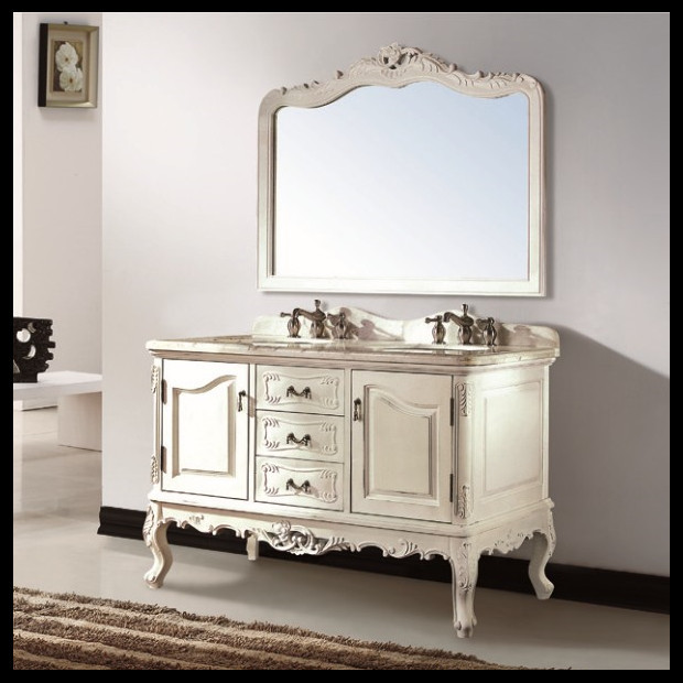 French Country Bathroom Vanities: Thailand Oak Solid Wood European French Style Double Sink