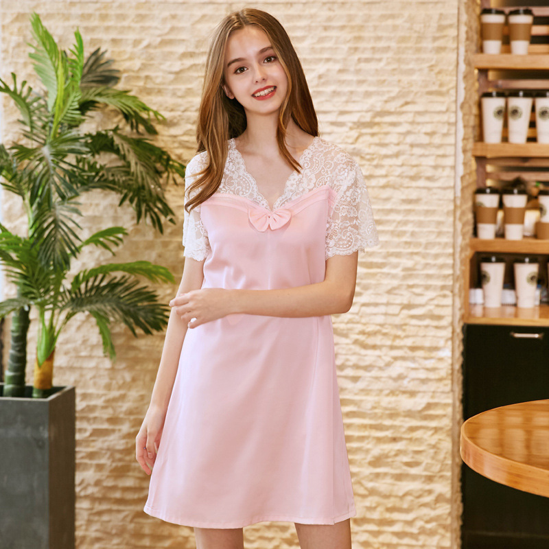 NG0228 New Sexy   Nightgowns     Sleepshirts   Women Solid Satin Silk Night Gown Ladies Lace V Neck Lingerie Female Cute Bow Silk Dress