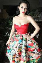 FREE SHIPPING Le Palais PIN UP Vintage limited sweet flower color shell corsage type dress/strapless/ball gown
