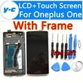 Для Oneplus One ЖК-Дисплей 100% Новый Дисплей + Сенсорный Экран Планшета Стеклянная Панель С Рамкой Замена Для Oneplus One 64GB16GB