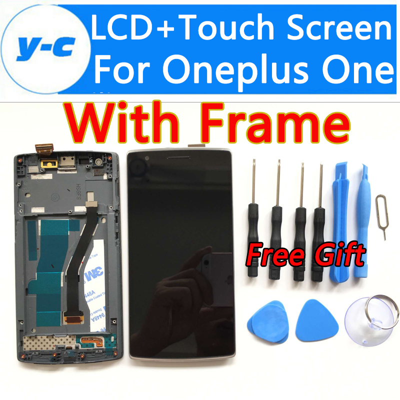 For Oneplus One LCD Display 100% New Display+ Touch Screen Digitizer Glass Panel With Frame Replacement For Oneplus One 64GB16GB 5pcs lot 100% new original oneplus one lcd screen touch panel digitizer for oneplus one 64gb 16gb lcd display 100%tested