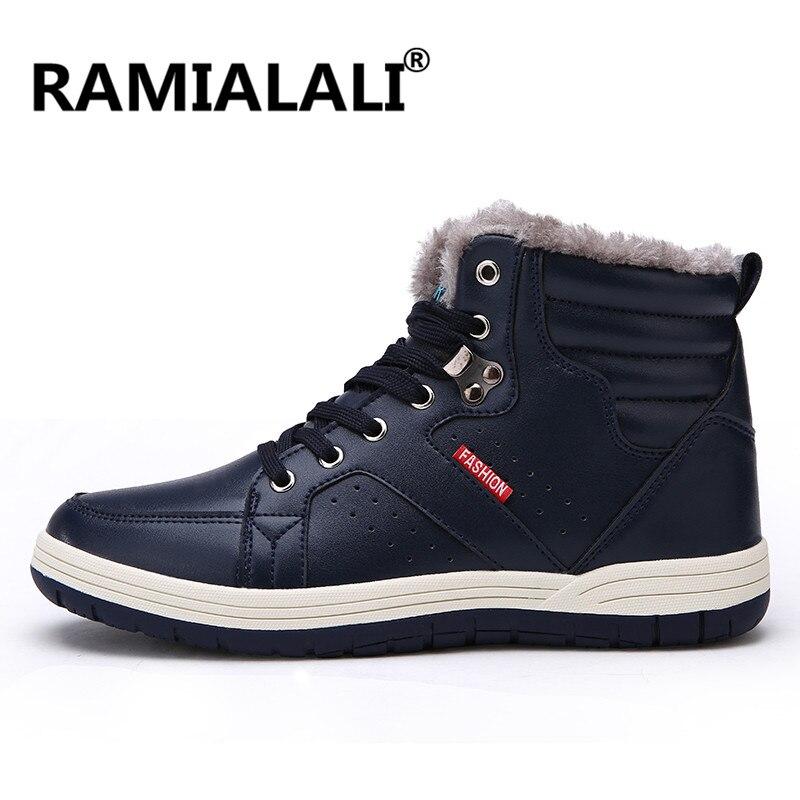 Ramialali חורף גברים נעלי ריצה לנשימה עור סניקרס תחרה עד נעלי ספורט נוח פרווה בתוספת גודל גדול 39-48