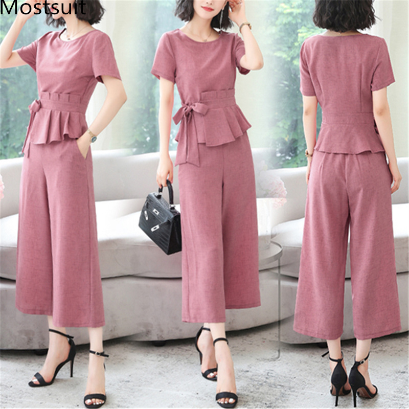 L-5xl Summer Elegant Two Piece Sets Outfits Women Plus Size Lace-up Bow Tunics Tops And Cropped Pants Suits Office Korean Sets 43