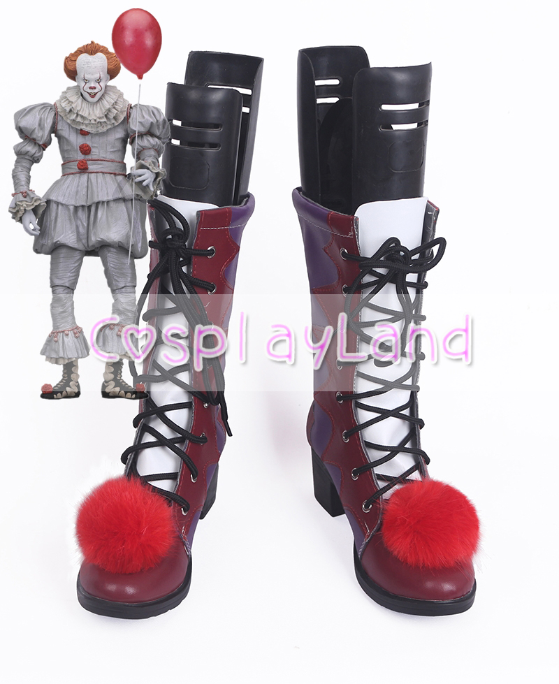IT Pennywise Stephen King Clown Cosplay Costume Boots Shoes Halloween Party Custom Made for Adult Men Shoes Accessories