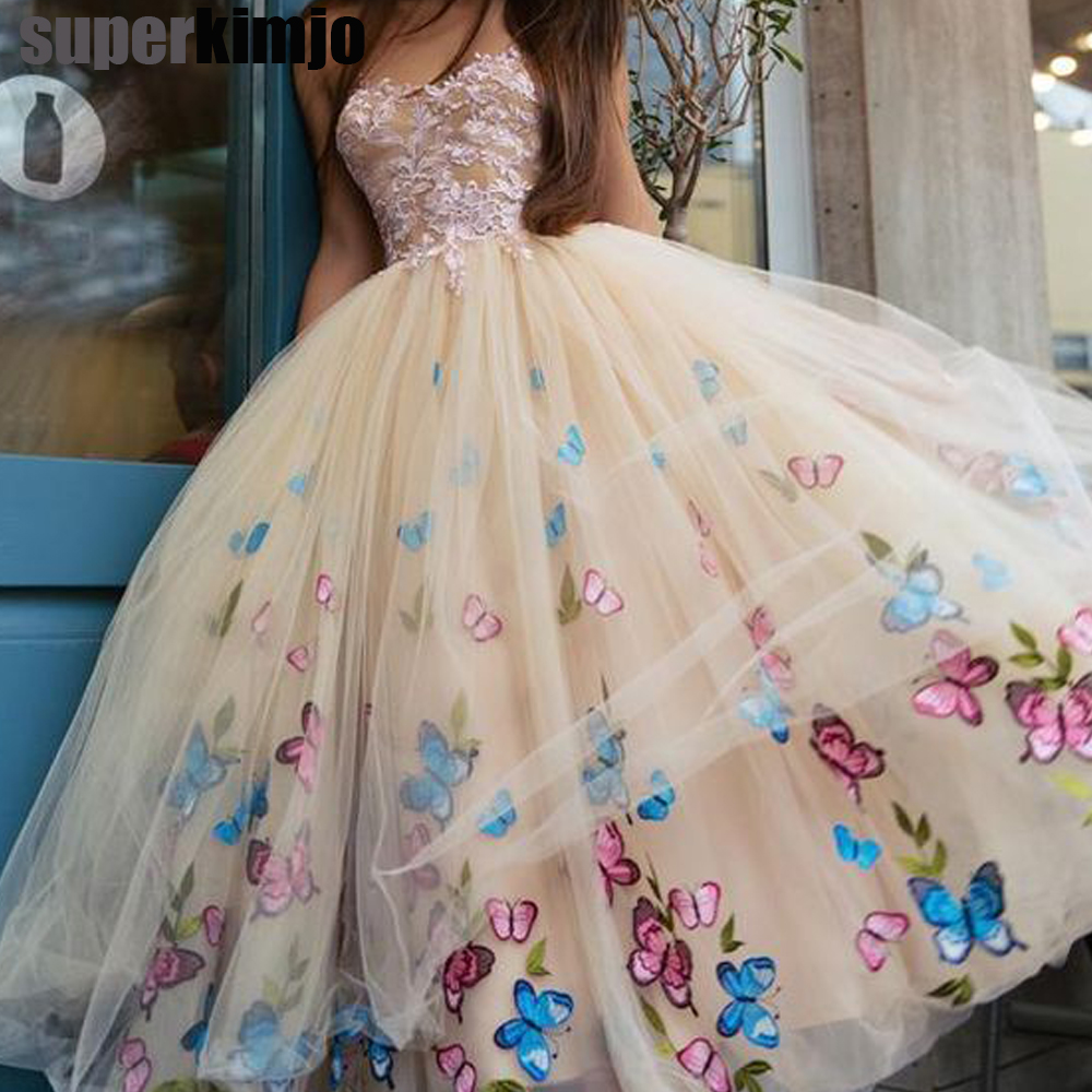 SuperKimJo 2019 new arrival   prom     dresses   butterfly puffy tulle floor length evening gowns cheap formal   dresses