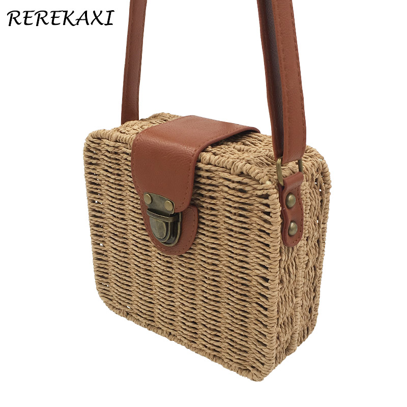 REREKAXI Candy color woman straw bag ladies small shoulder bags beach bag crossbody bags for women beach straw bags women appliques beach bag snakeskin handbags summer 2017 vintage python pattern crossbody bag
