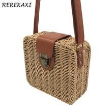 4c7a10238104 REREKAXI ручная работа конфеты цвет Женская соломенная сумка женские  маленькие сумки на плечо Богемия пляжная сумка