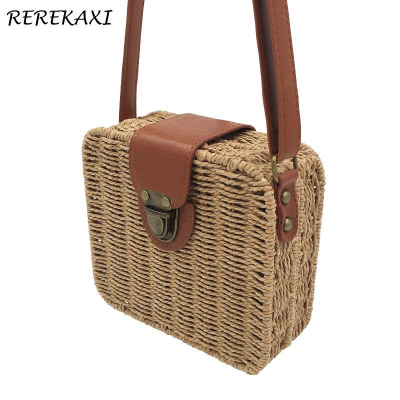 REREKAXI tissé à la main couleur bonbon femmes sac de paille dames petits sacs à bandoulière bohême sac de plage sacs à bandoulière voyage sac à main fourre-tout