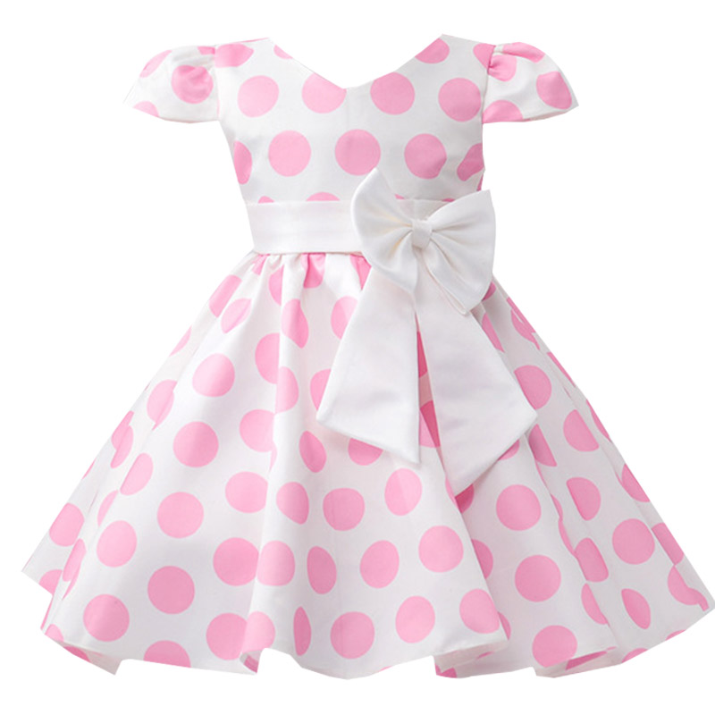 Dot printing children clothing   flower     girl     dresses   for wedding clothes first communion princess   dress   baby tutu costume