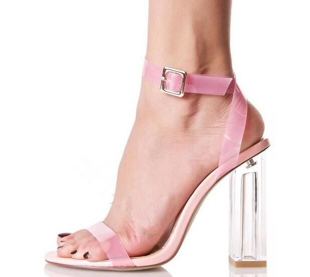 Candy colors transparent strappy women clear sandals crystal high heel buckle party shoes open toe sexy pumps big size Euro 43 redlai colors crystal clear laptop case