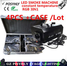 4pcs/ constant temperature LED 1500W smoke machine + Flight Case remote + wore control RGB 3in1 1500W fog machine DJ equipment(China)