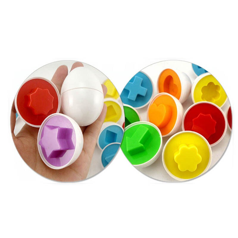 6PCS/LOT Educational toys toy recognize color shape matching egg fight inserted wooden toys kids toys puzzle WYQ 3