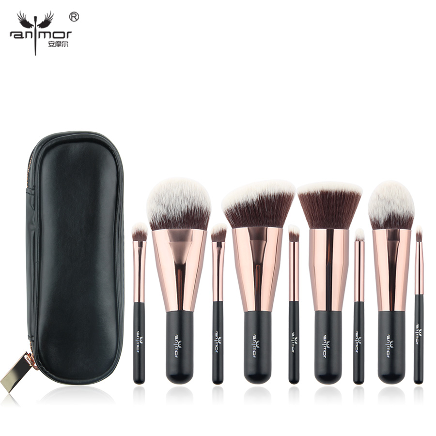 Anmor Lovely Travel 9 pcs Makeup Brush Set Synthetic Mini Makeup Brushes With Bag MBC03