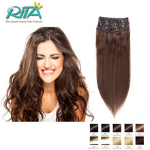 16-28 Inch 7-10Pcs Stylish straight Clip In Human Hair Extensions 70-200G  #4 Brazilian Virgin Hair Clip In Extension Dark Brown