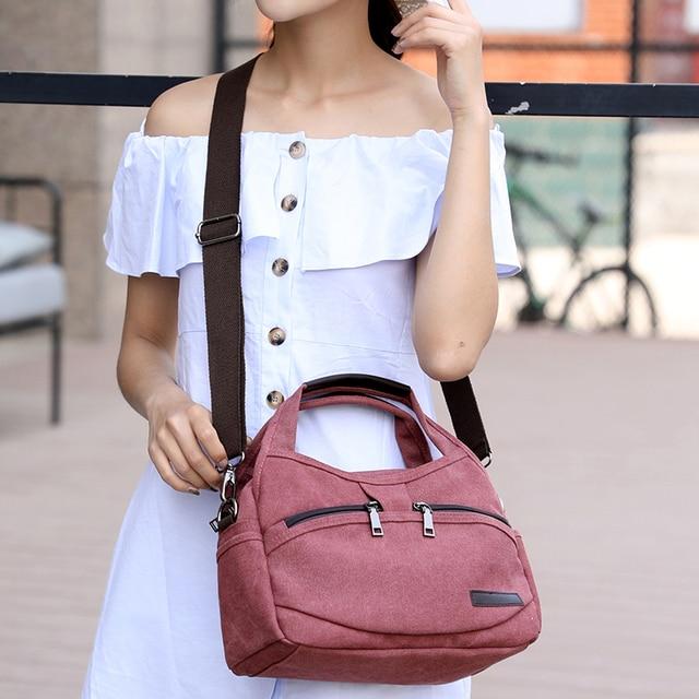 Women's Canvas Handbags Female Hobos Single Shoulder Bags Woman Crossbody Pack Solid Multi-pocket Ladies Totes 2