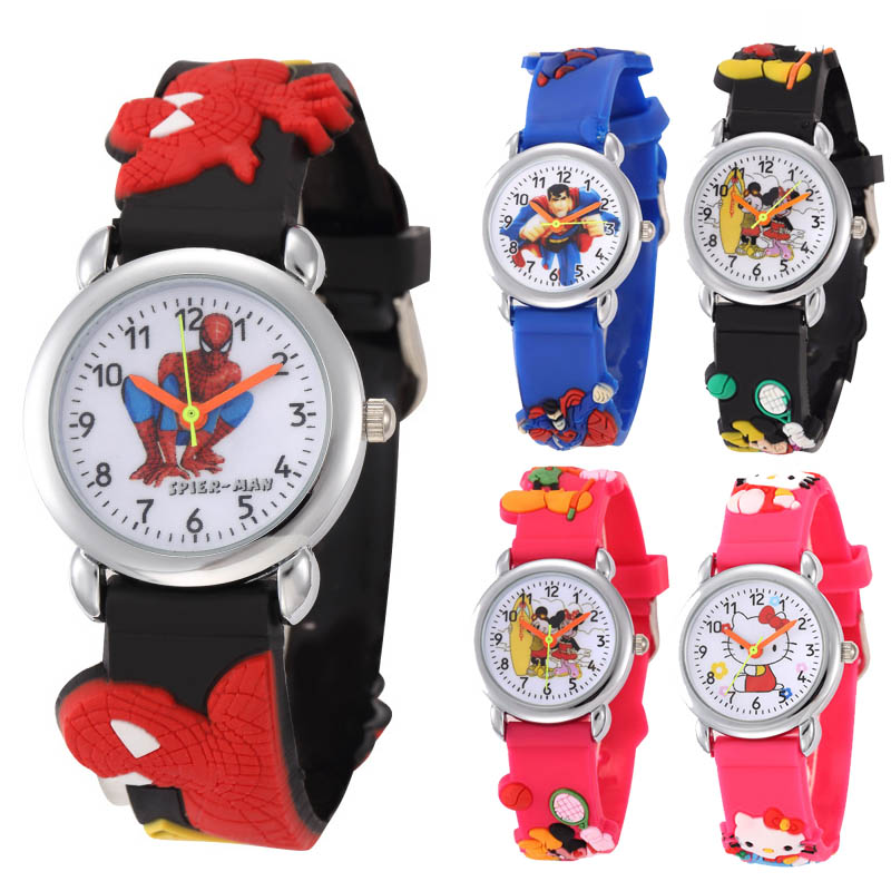Cartoon Children Watch Kids Gift Superman Spiderman Pink Kitten Football Wristwatch Boys Girls Quartz Wristwatch Clock Relogio