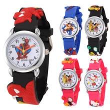 Reloj para niños de dibujos animados, regalo para niños, Superman, Spiderman, gatito rosa, reloj de pulsera de cuarzo para niños y niñas, reloj