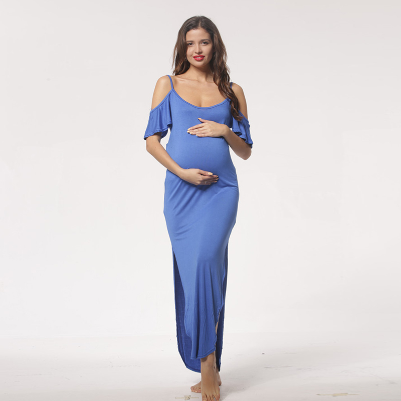Maternity Dresses Maternity Photography Props Cotton Off Shoulders European Style Pregnant Dress Pregnancy Photo Shoot Clothes